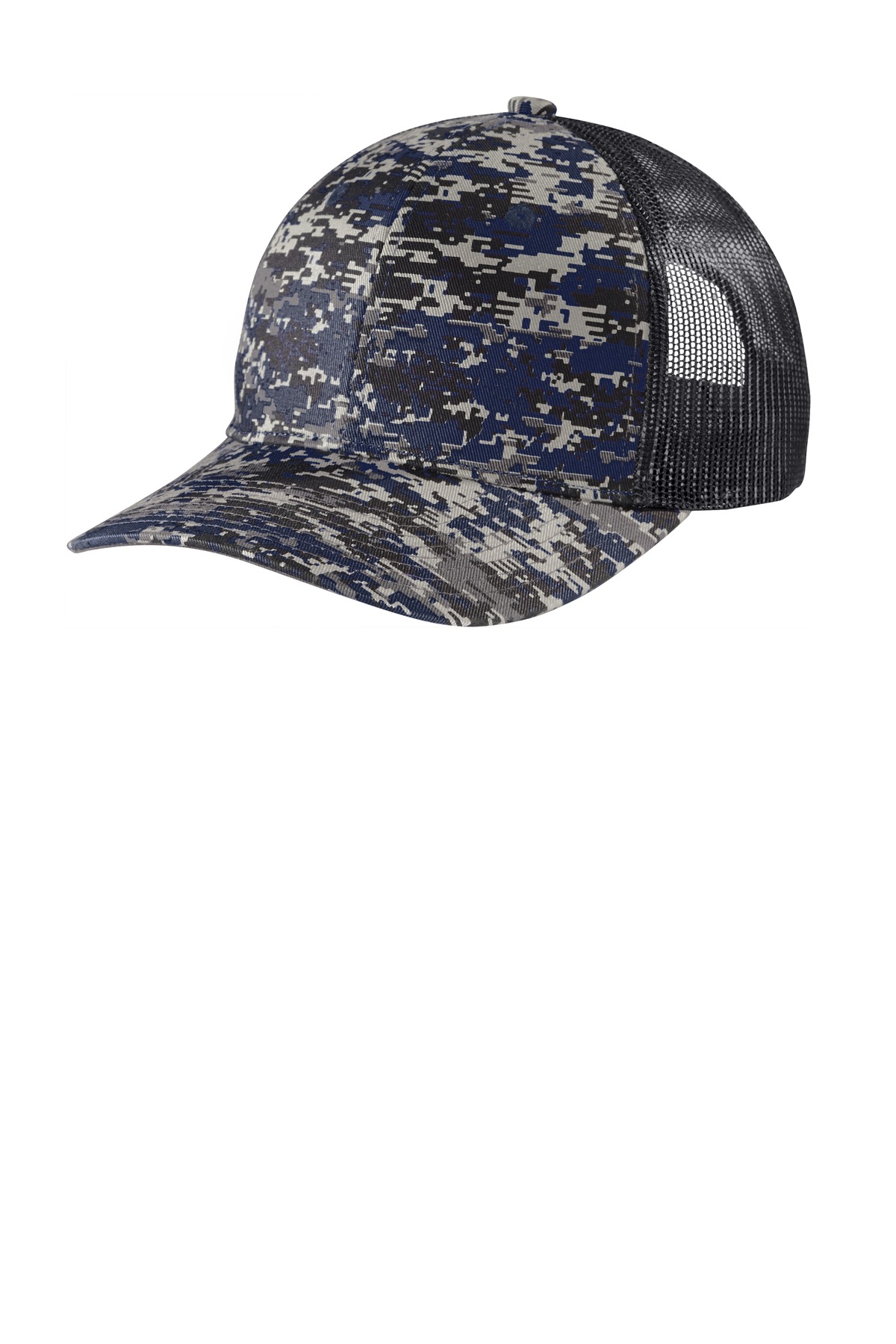 Port Authority  ®  Digi Camo Snapback Trucker Cap C114 - Rich Navy Digi/ Grey Steel