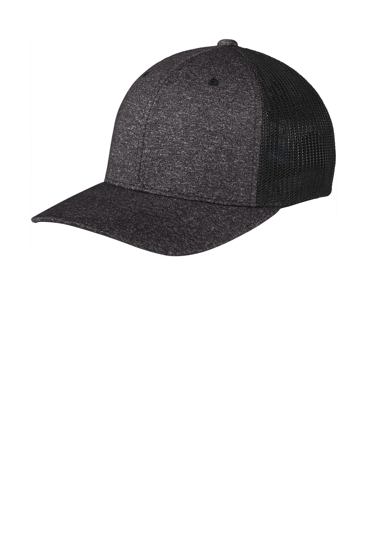 Port Authority  ®  Flexfit  ®  Melange Mesh Back Trucker Cap C302 - Black/ Dark Charcoal Heather