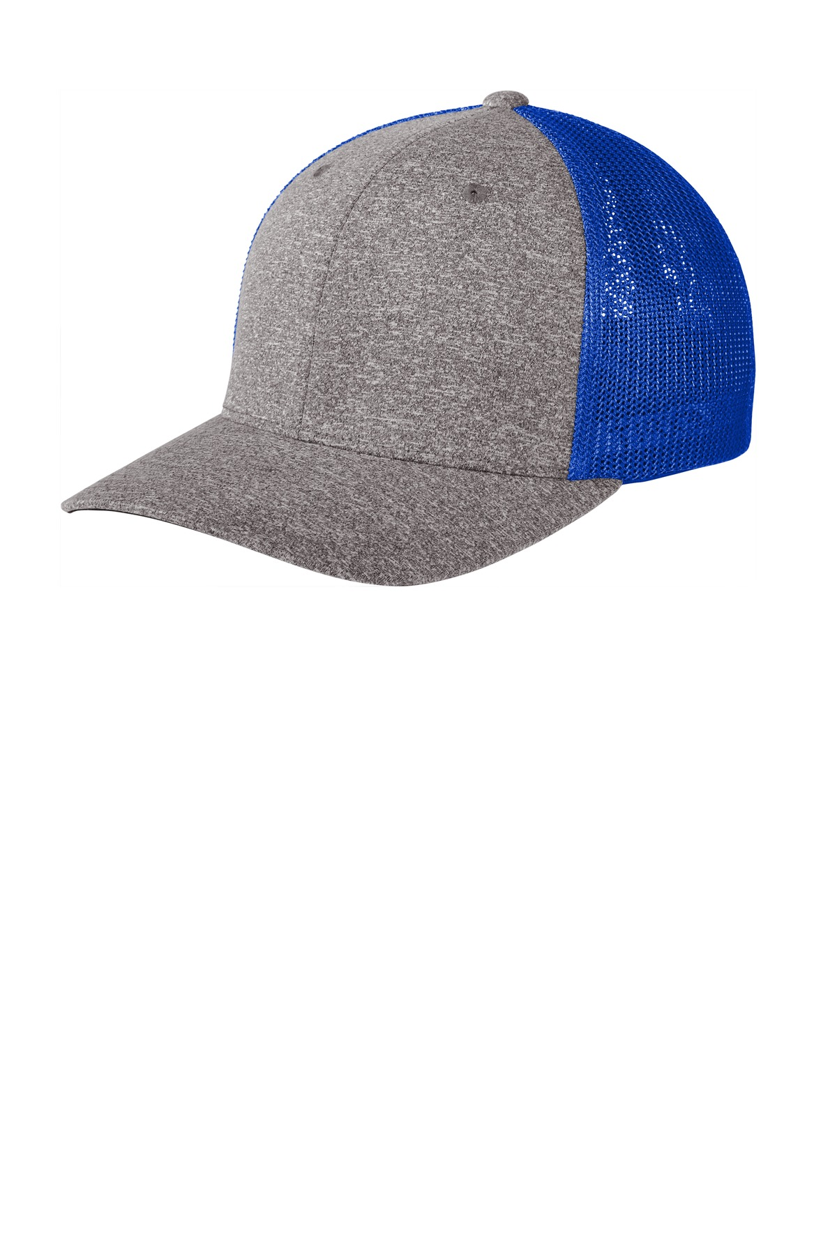 Port Authority  ®  Flexfit  ®  Melange Mesh Back Trucker Cap C302 - True Royal/ Grey Heather