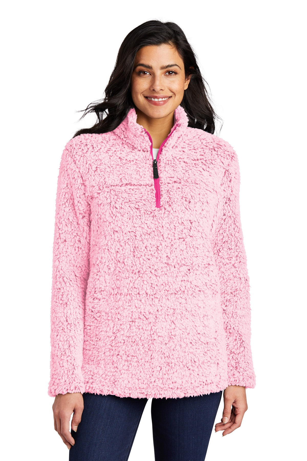 Port Authority  ®   Ladies Cozy 1/4-Zip Fleece L130 - Pop Raspberry Heather