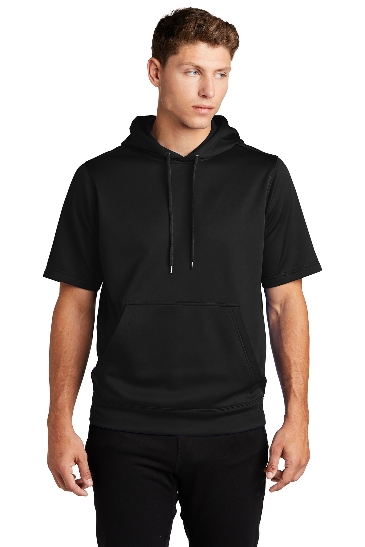 Sport-Tek  ®  Sport-Wick  ®  Fleece Short Sleeve Hooded Pullover. ST251 - Black