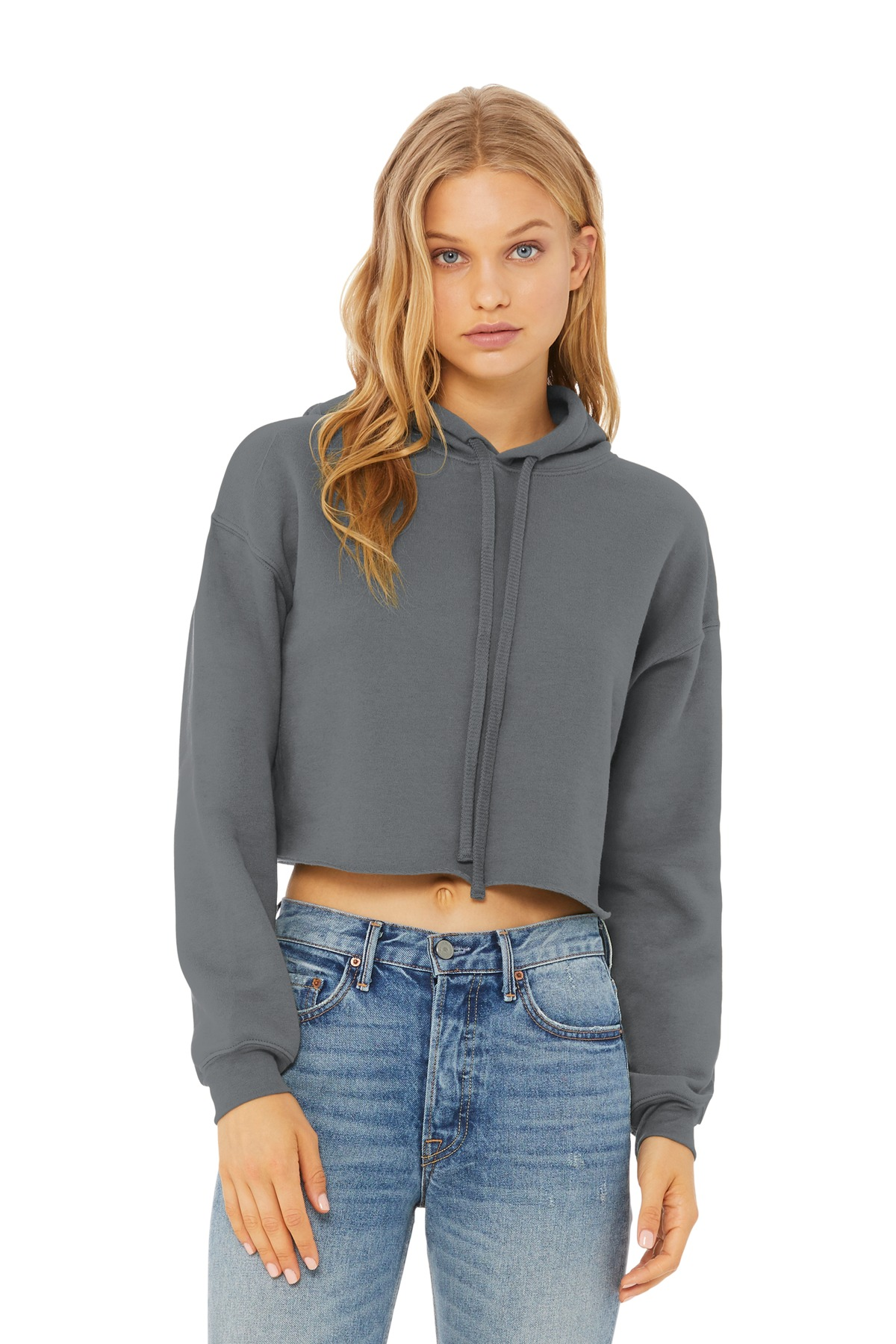 BELLA+CANVAS  ®  Women's Sponge Fleece Cropped Fleece Hoodie. BC7502 - Storm