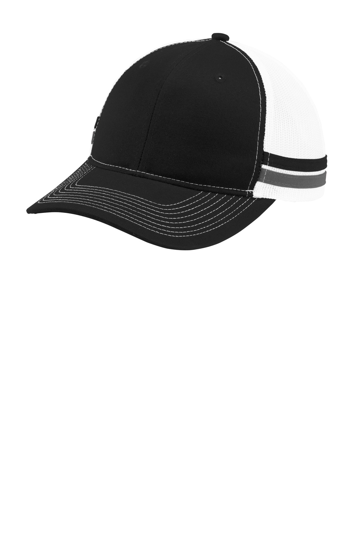 Port Authority  ®  Two-Stripe Snapback Trucker Cap. C113 - Black/ Grey Steel/ White