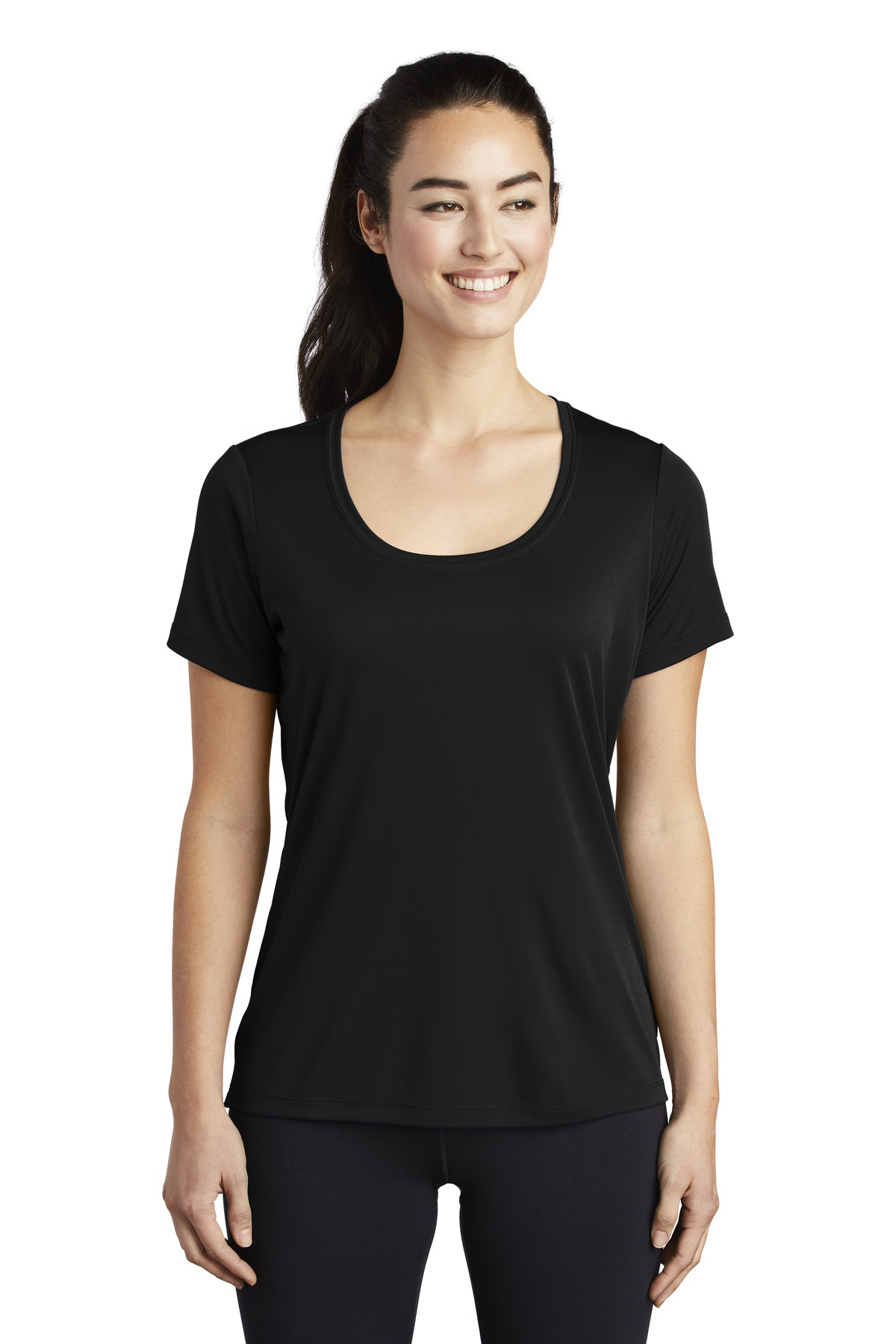 Sport-Tek  ®  Ladies Posi-UV ™  Pro Scoop Neck Tee. LST420 - Black