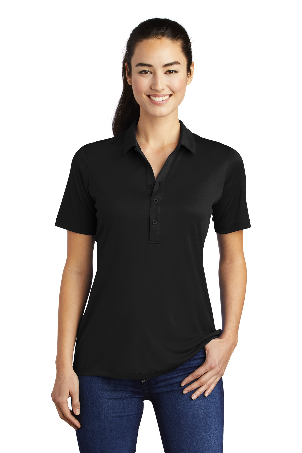 Sport-Tek ®  Ladies Posi-UV  ™  Pro Polo.  LST520 - Black