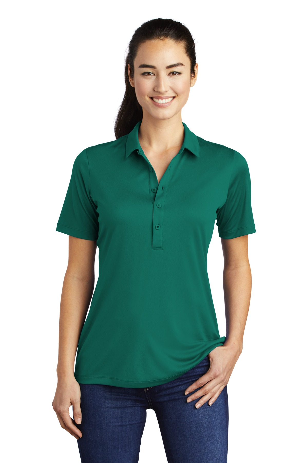 Sport-Tek ®  Ladies Posi-UV  ™  Pro Polo.  LST520 - Marine Green