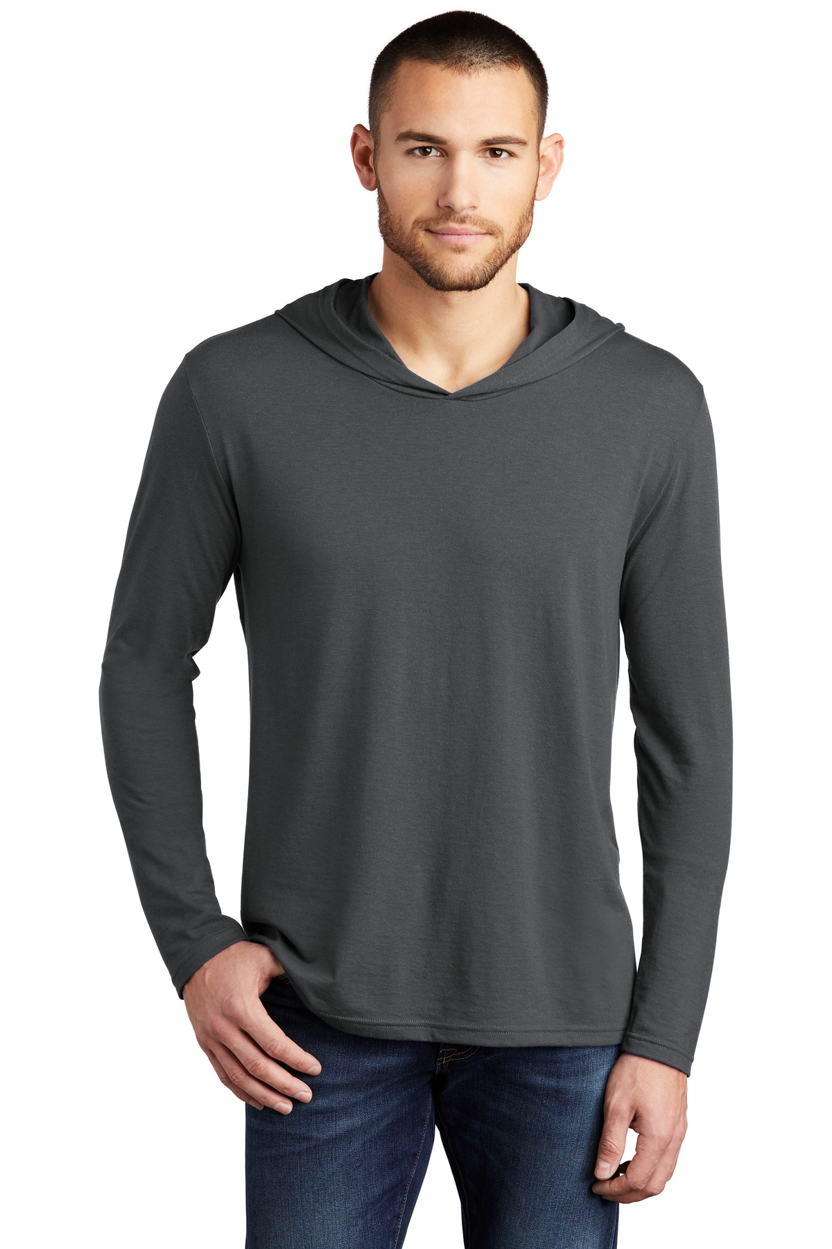 District ®  Perfect Tri ®  Long Sleeve Hoodie. DM139 - Charcoal