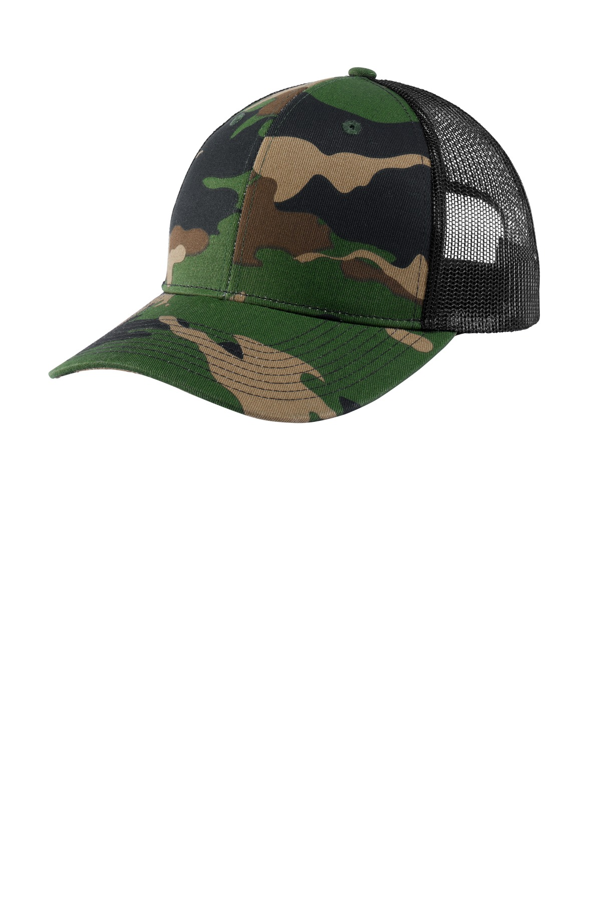 Port Authority ®  Snapback Trucker Cap. C112 - Woodland Camo/ Black