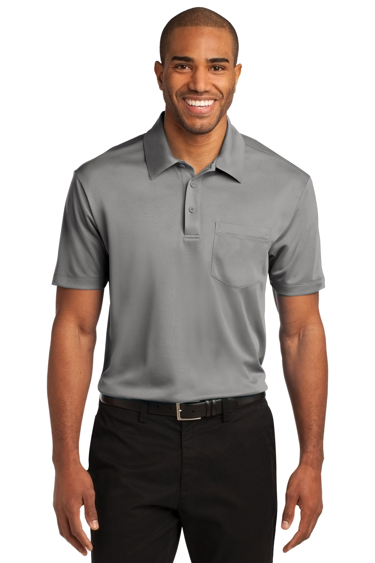 Port Authority ®  Silk Touch™ Performance Pocket Polo. K540P - Gusty Grey