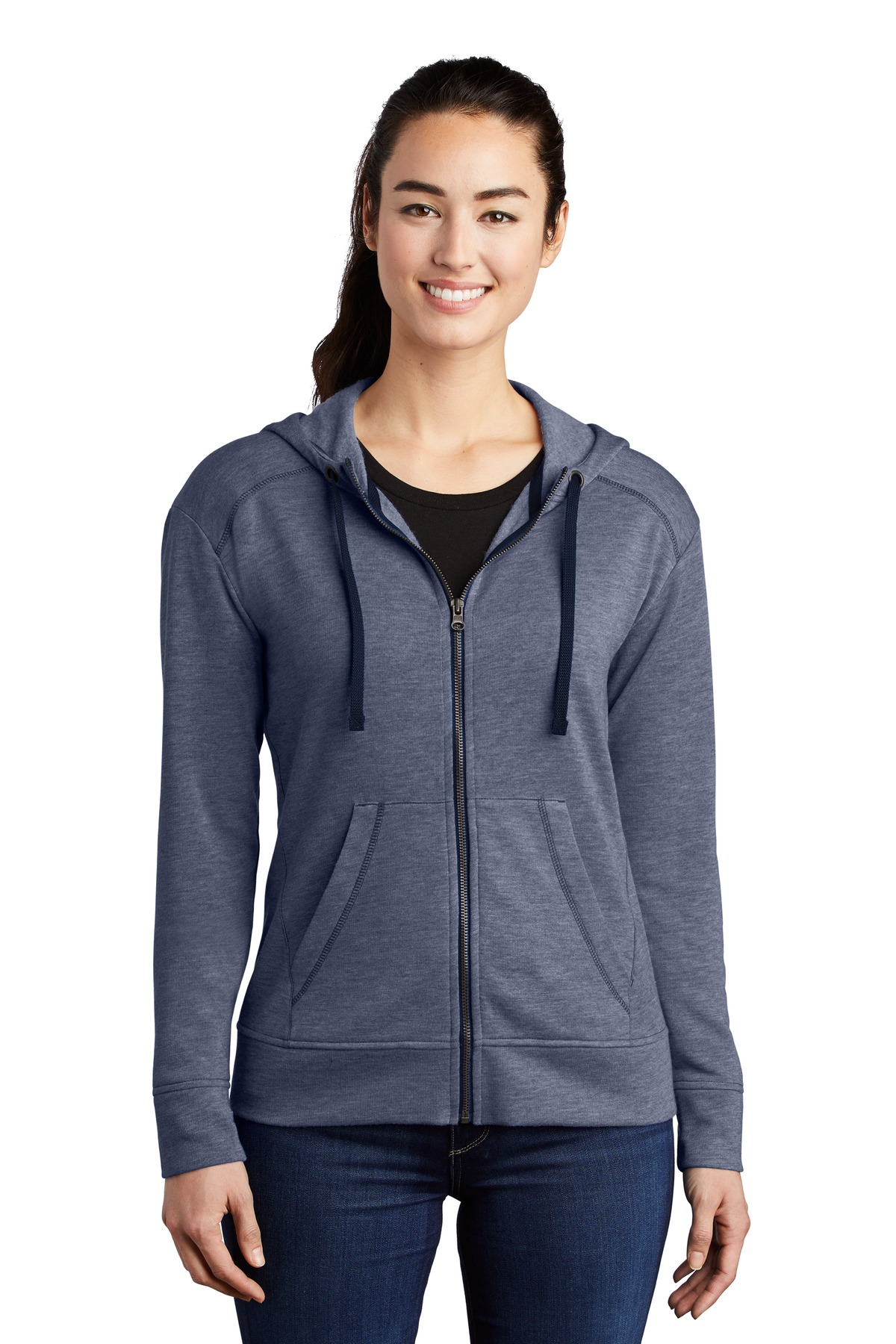 Sport-Tek  ®  Ladies PosiCharge  ®  Tri-Blend Wicking Fleece Full-Zip Hooded Jacket LST293 - True Navy Heather