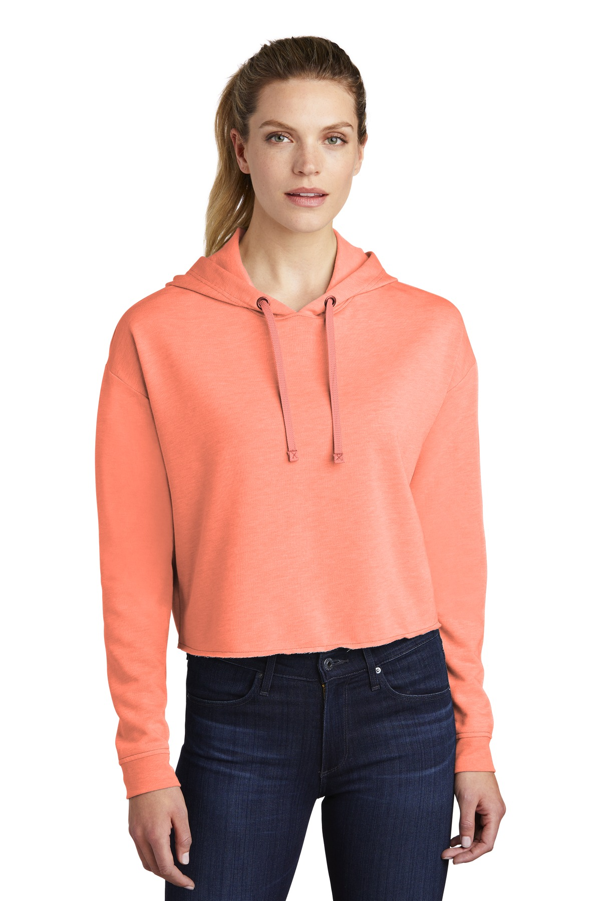 Sport-Tek  ®  Ladies PosiCharge  ®  Tri-Blend Wicking Fleece Crop Hooded Pullover LST298 - Soft Coral Heather
