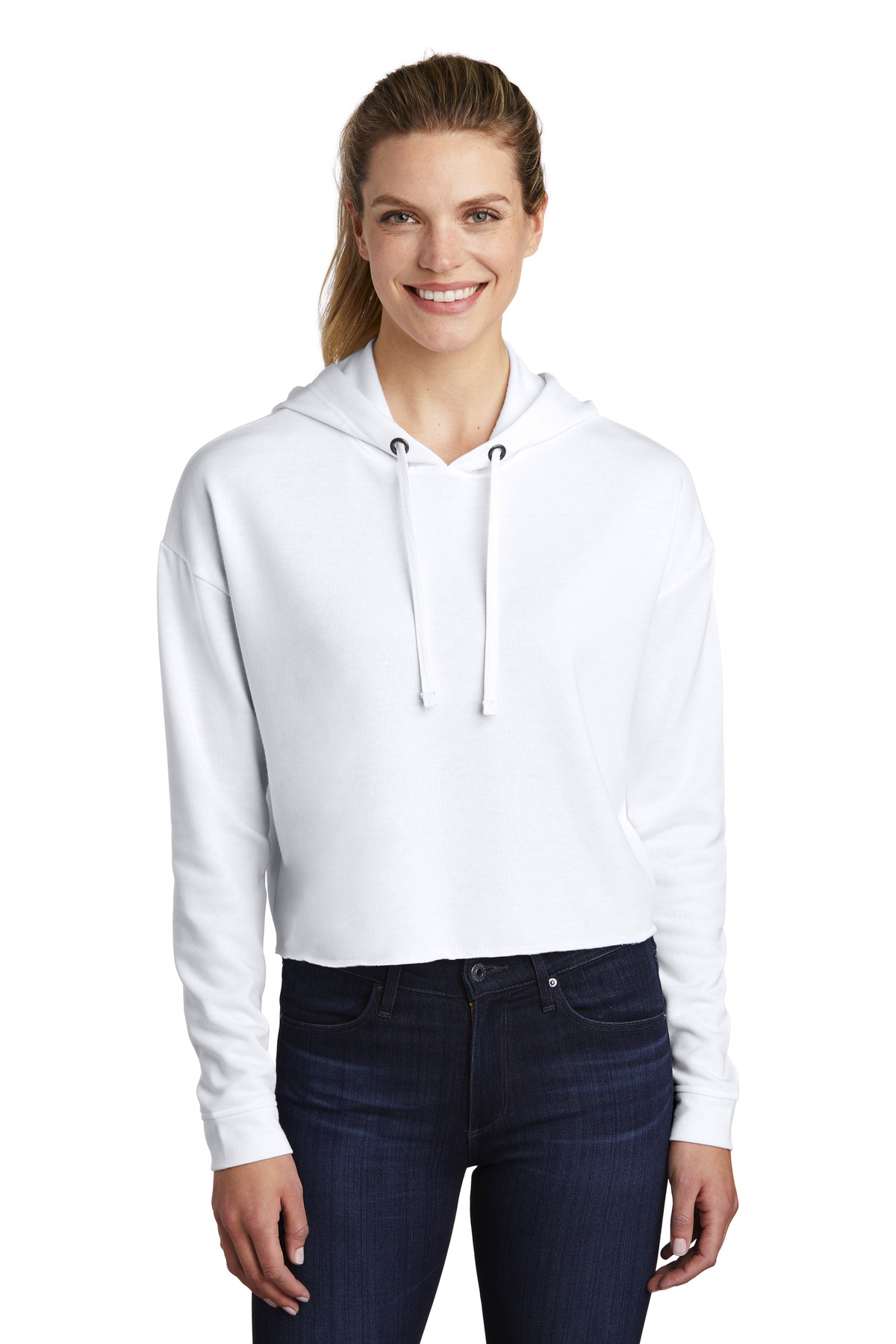 Sport-Tek  ®  Ladies PosiCharge  ®  Tri-Blend Wicking Fleece Crop Hooded Pullover LST298 - White Triad Solid