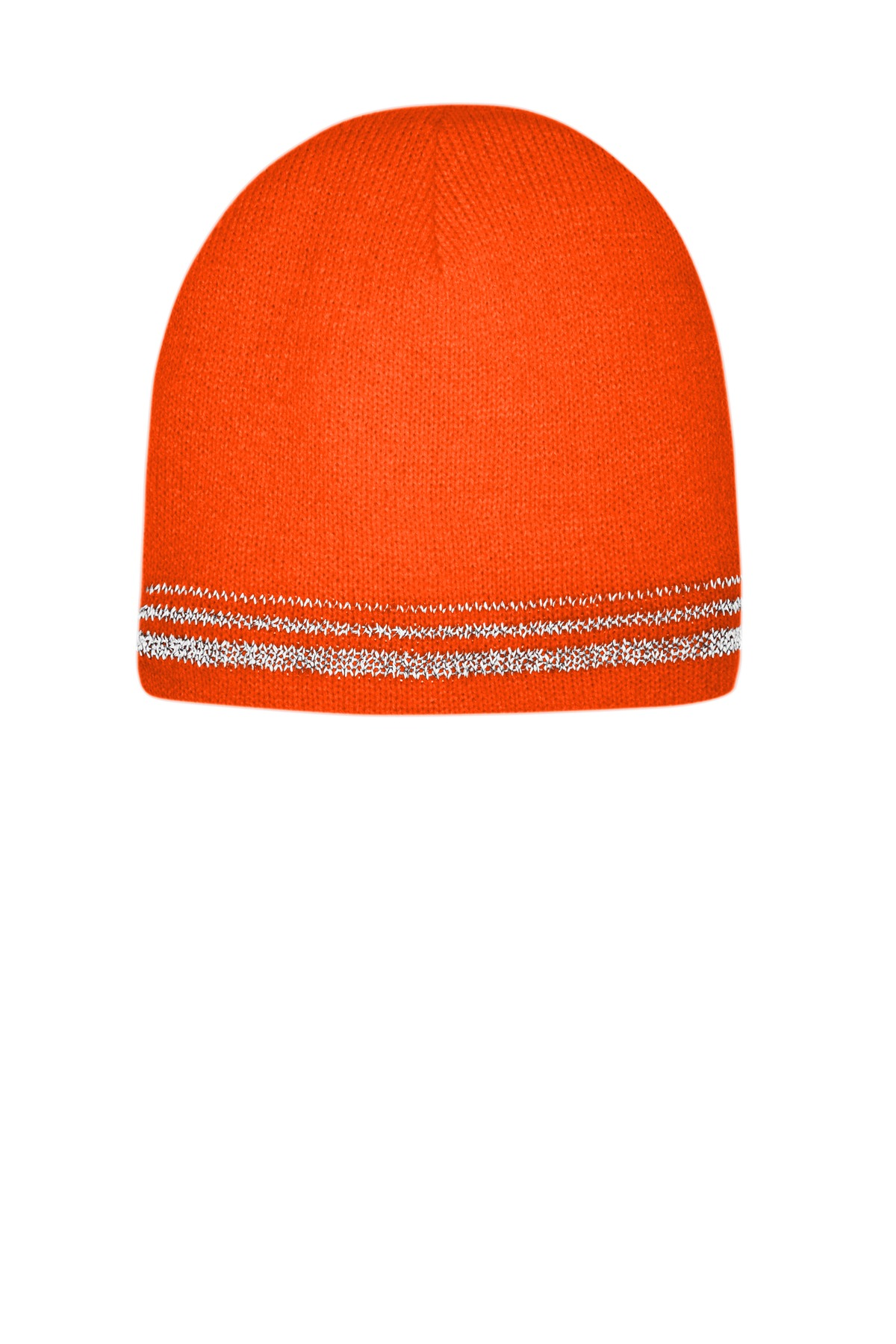 CornerStone  ®   Lined Enhanced Visibility with Reflective Stripes Beanie CS804 - Safety Orange/ Reflective