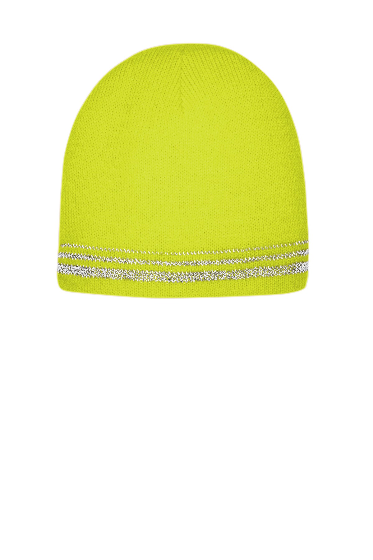 CornerStone  ®   Lined Enhanced Visibility with Reflective Stripes Beanie CS804 - Safety Yellow/ Reflective