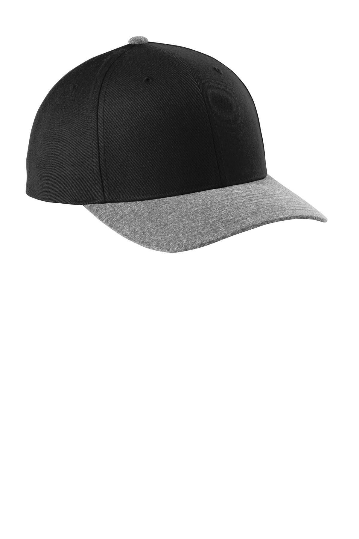 Sport-Tek  ®  Yupoong  ®  Curve Bill Snapback Cap. STC43 - Black/ Grey Heather