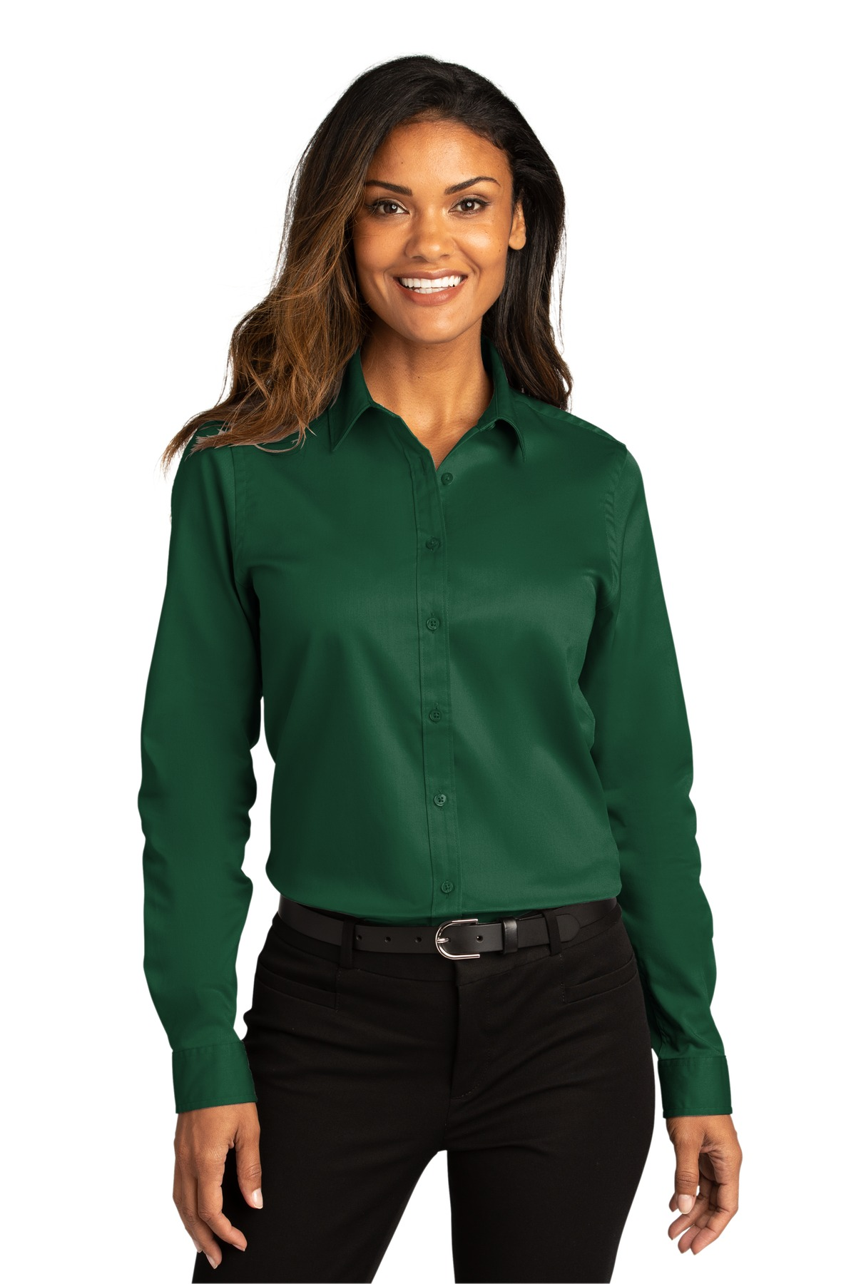 Port Authority ®  Ladies Long Sleeve SuperPro ™ React ™ Twill Shirt. LW808 - Dark Green
