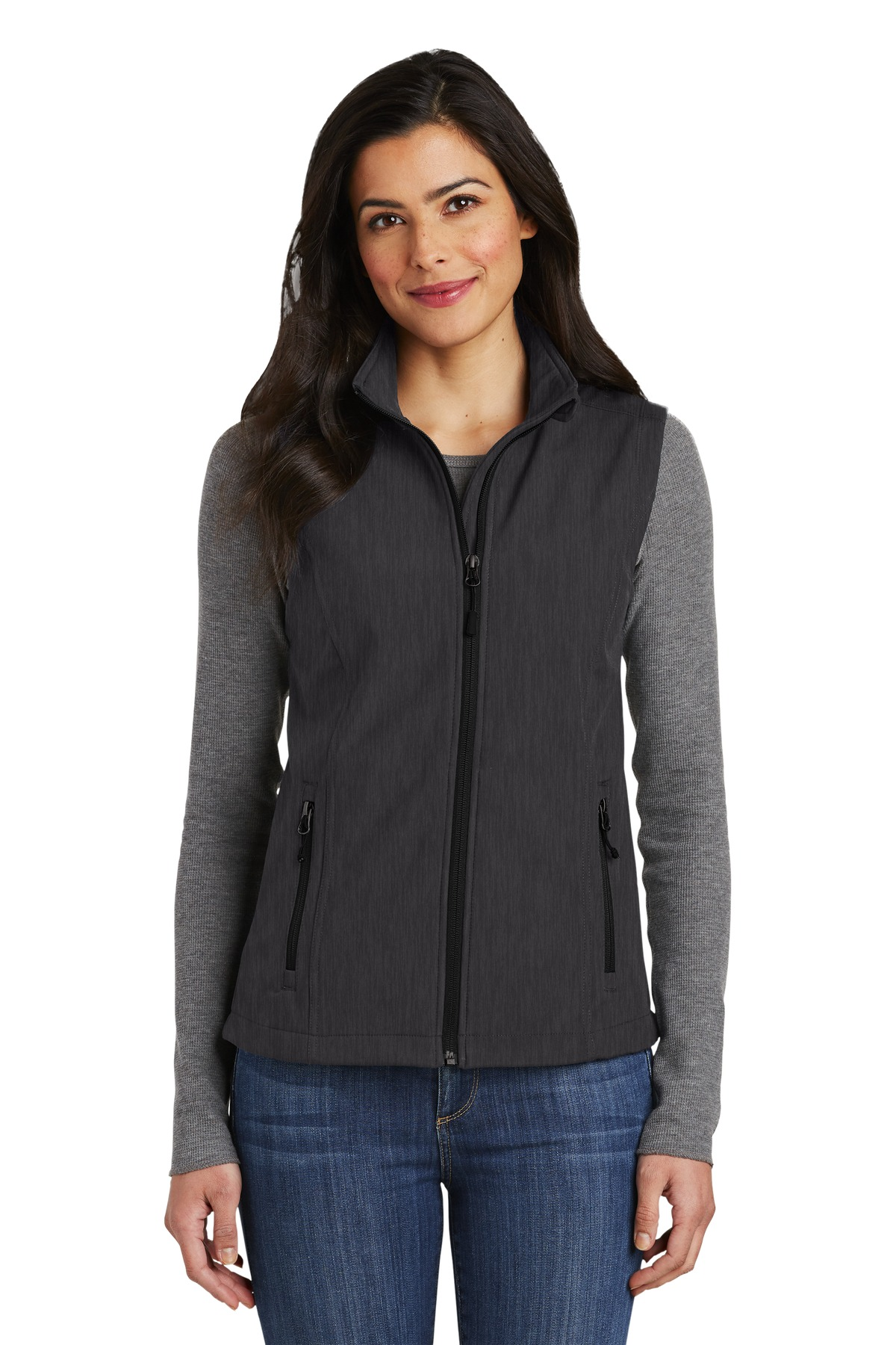 Port Authority ®  Ladies Core Soft Shell Vest. L325 - Black Charcoal Heather