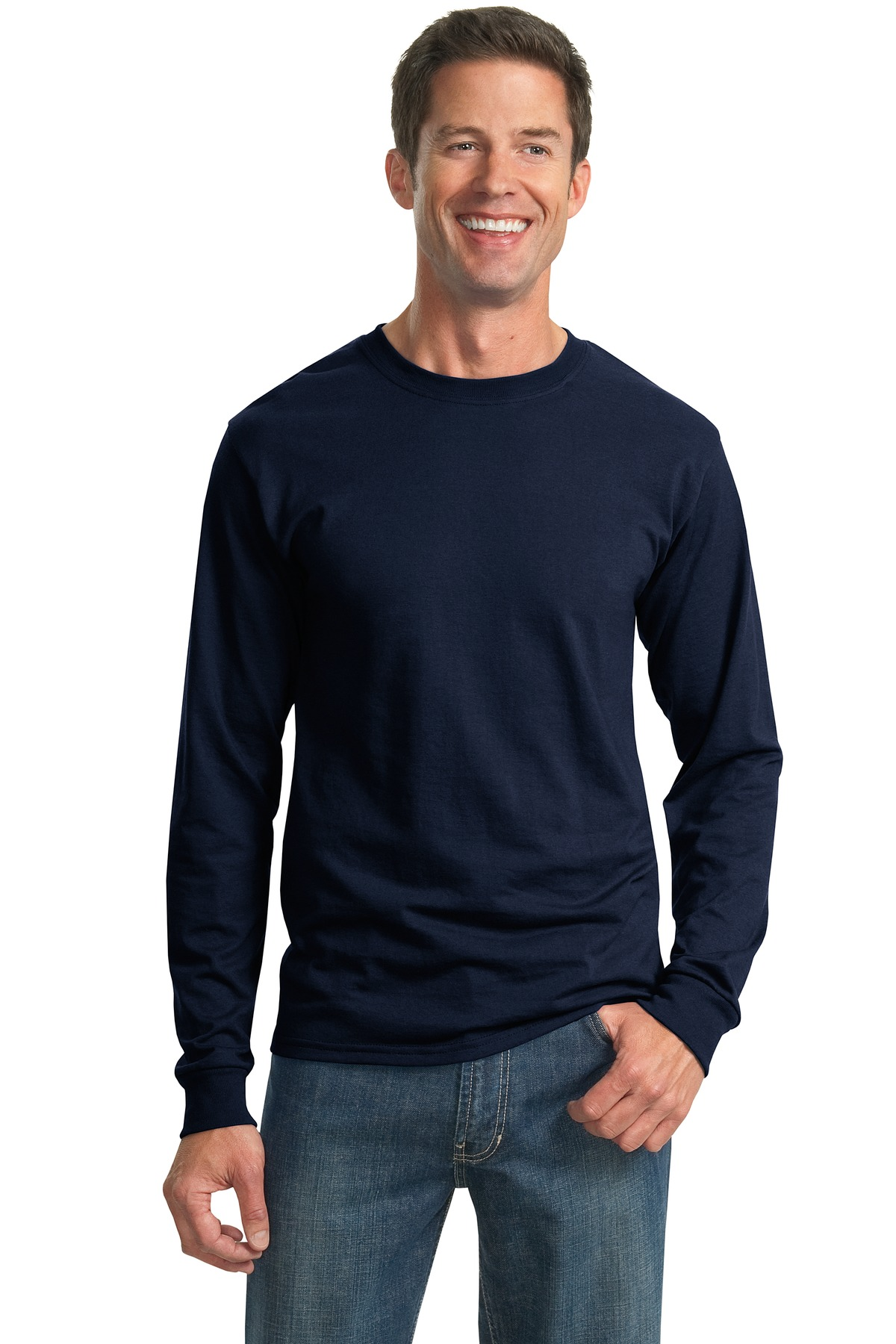 JERZEES ®  - Dri-Power ®  50/50 Cotton/Poly Long Sleeve T-Shirt.  29LS - Navy