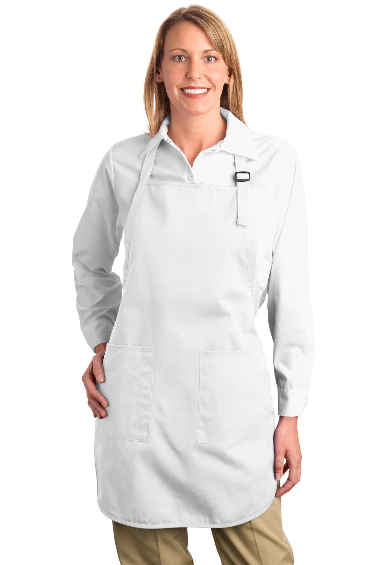 Port Authority ®  Full-Length Apron with Pockets.  A500 - White