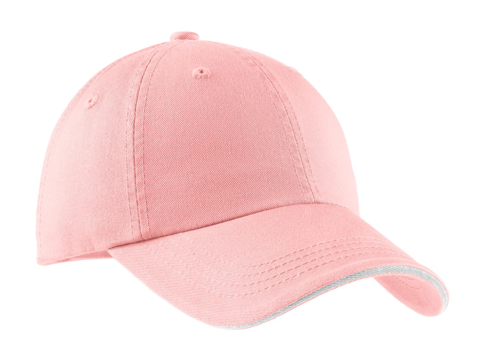 Port Authority ®  Sandwich Bill Cap with Striped Closure.  C830 - Light Pink/ White
