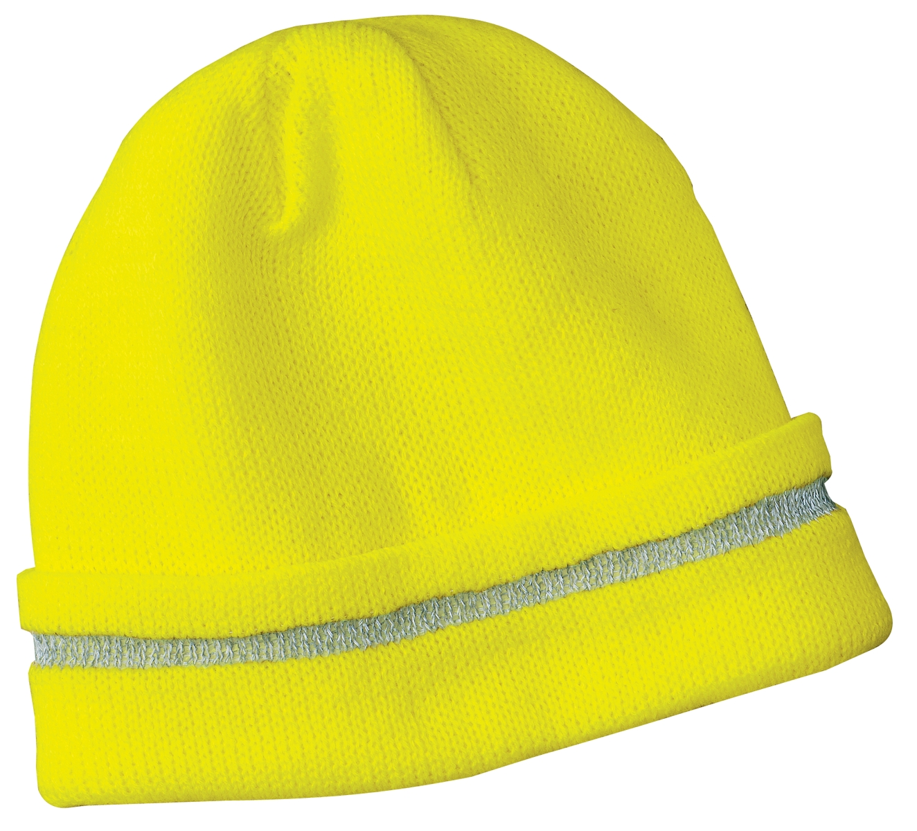 CornerStone ®  - Enhanced Visibility Beanie with Reflective Stripe.  CS800 - Safety Yellow/ Reflective