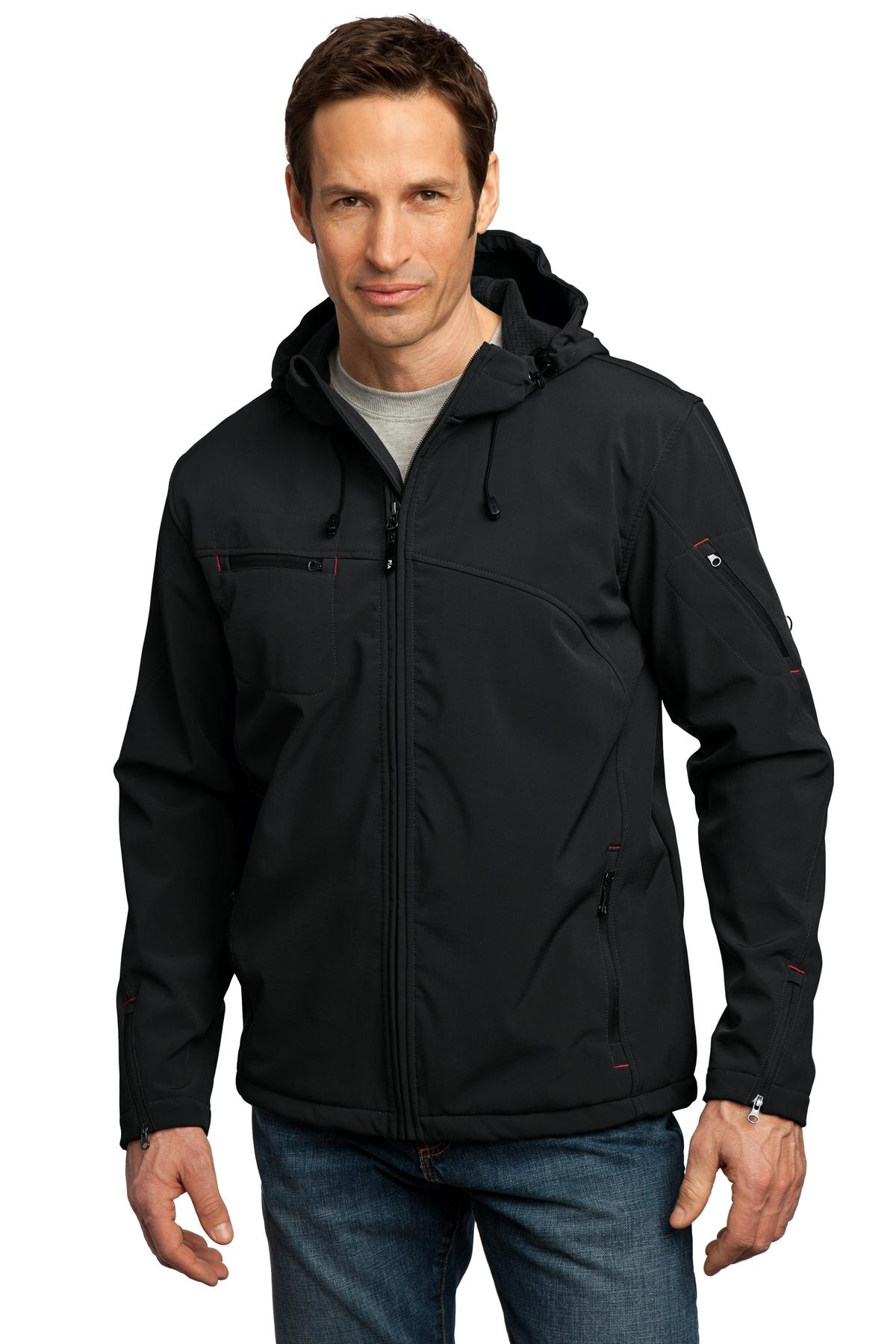 Port Authority ®  Textured Hooded Soft Shell Jacket. J706 - Black/ Engine Red