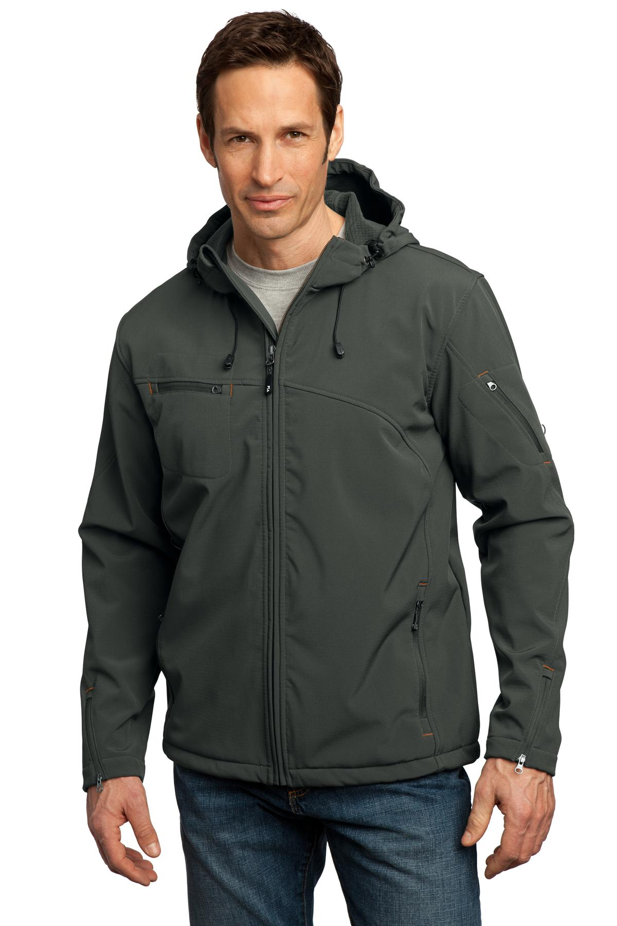 Port Authority ®  Textured Hooded Soft Shell Jacket. J706 - Mineral Green/ Soft Orange