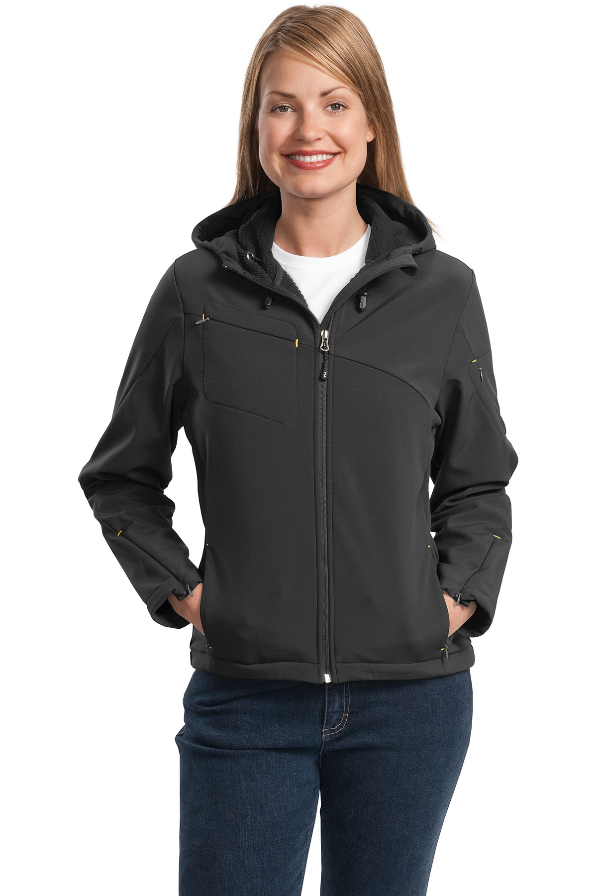Port Authority ®  Ladies Textured Hooded Soft Shell Jacket. L706 - Charcoal/ Lemon Yellow