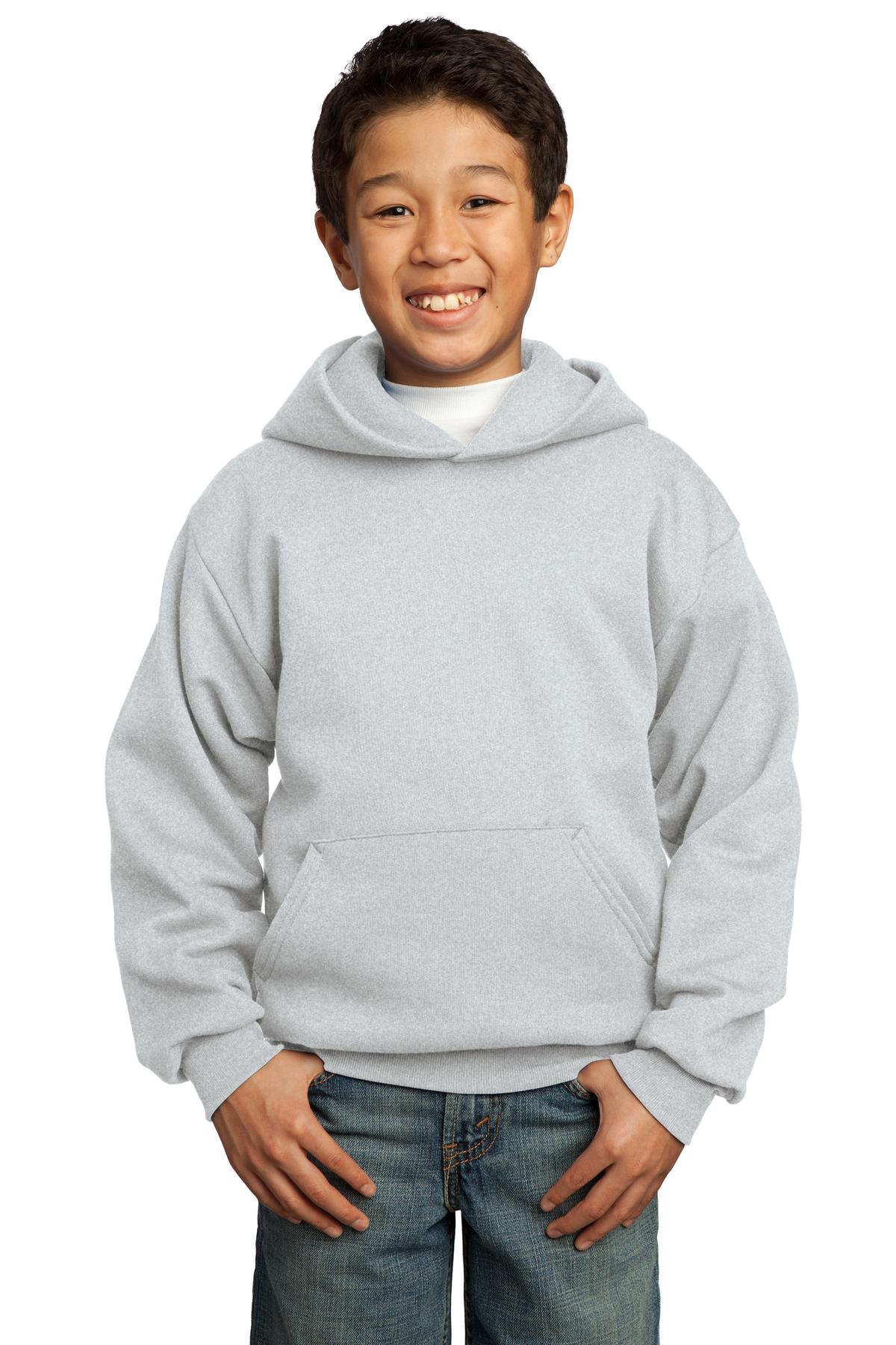 Port & Company ®  - Youth Core Fleece Pullover Hooded Sweatshirt.  PC90YH - Ash