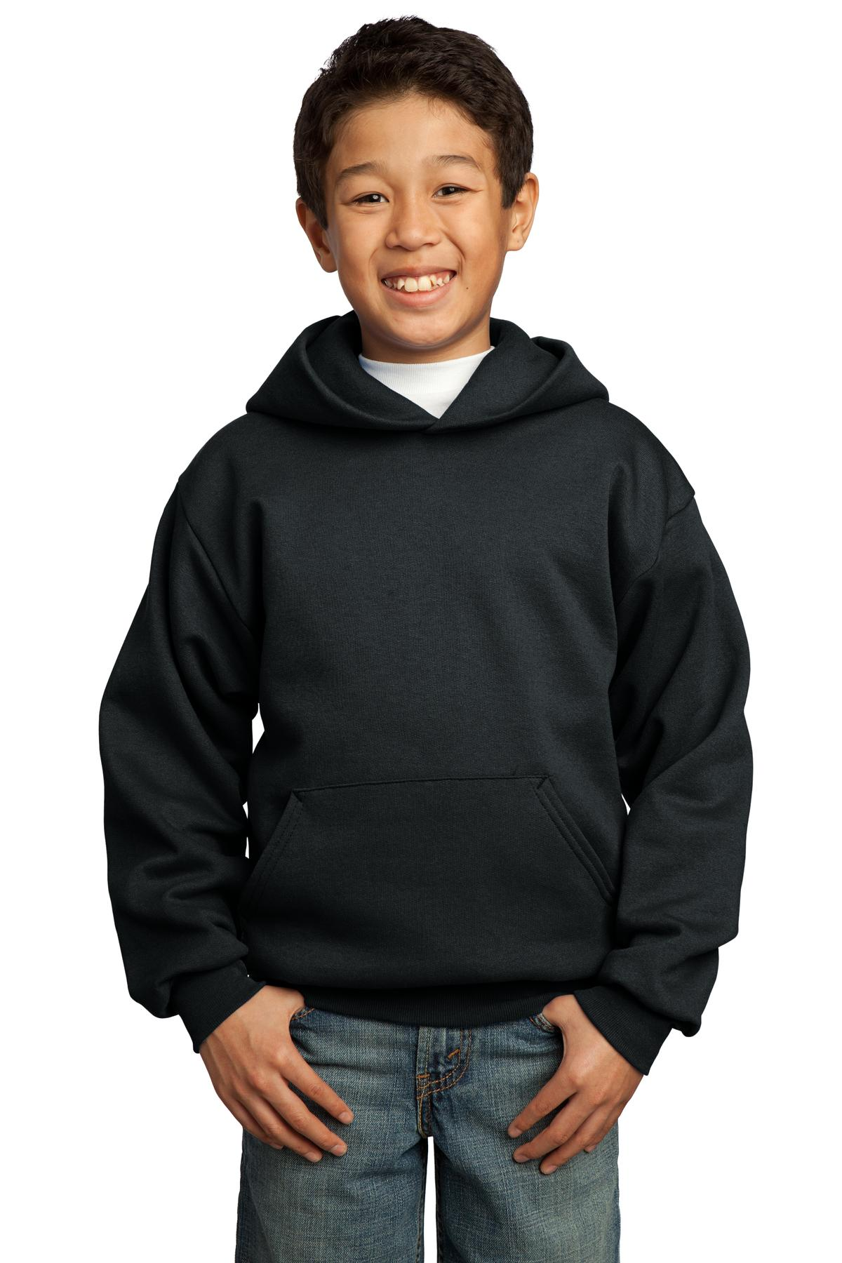 Port & Company ®  - Youth Core Fleece Pullover Hooded Sweatshirt.  PC90YH - Jet Black