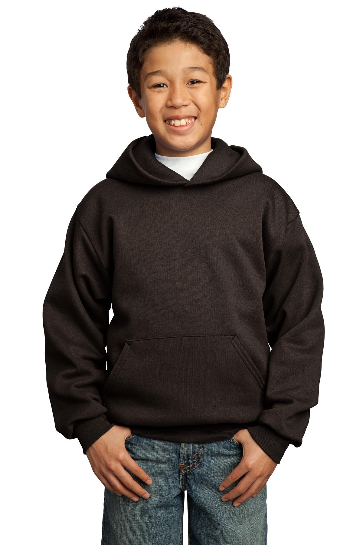Port & Company ®  - Youth Core Fleece Pullover Hooded Sweatshirt.  PC90YH - Dark Chocolate Brown