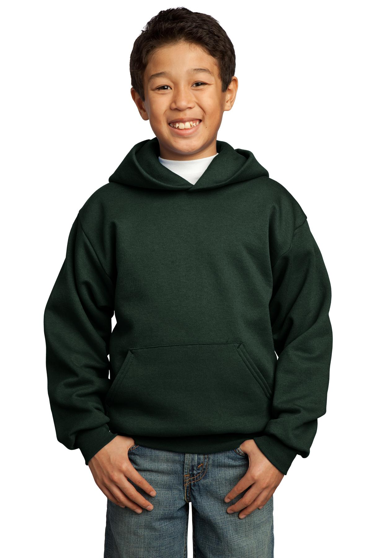 Port & Company ®  - Youth Core Fleece Pullover Hooded Sweatshirt.  PC90YH - Dark Green