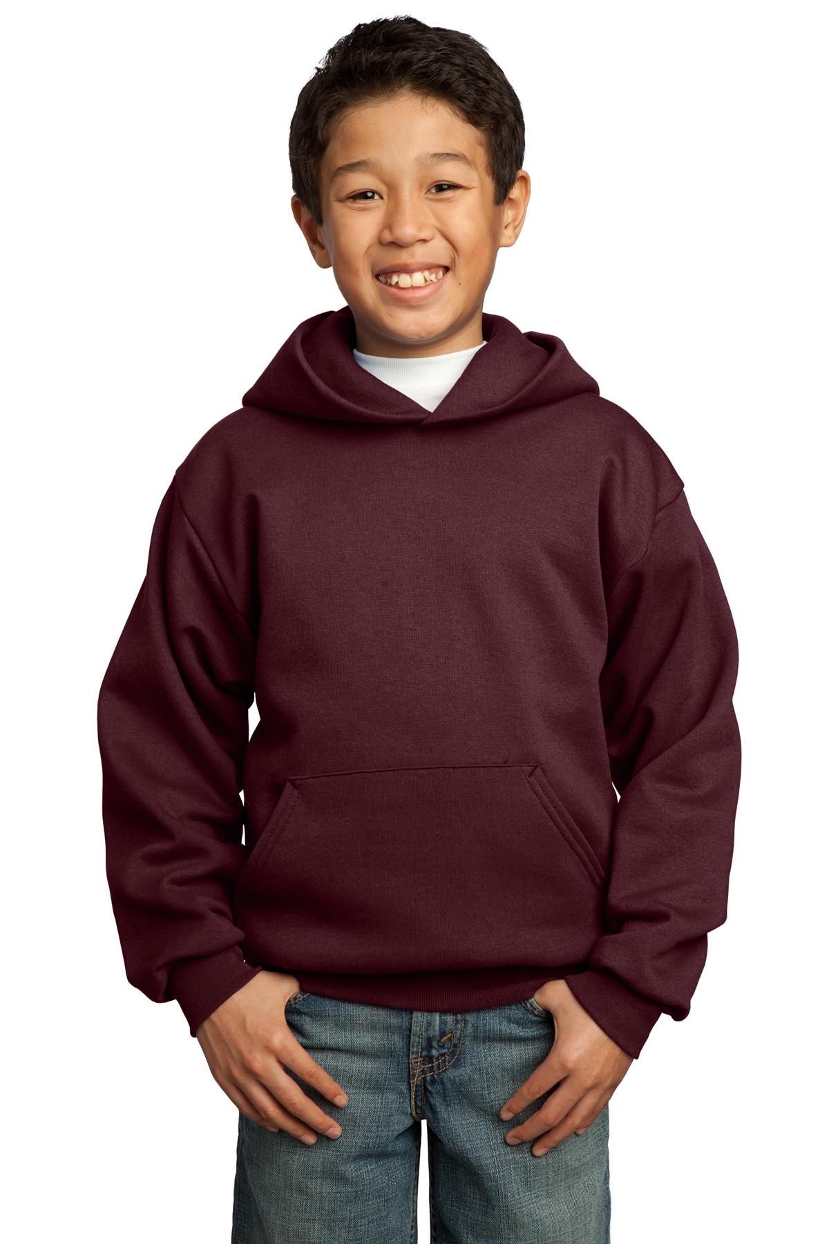 Port & Company ®  - Youth Core Fleece Pullover Hooded Sweatshirt.  PC90YH - Maroon
