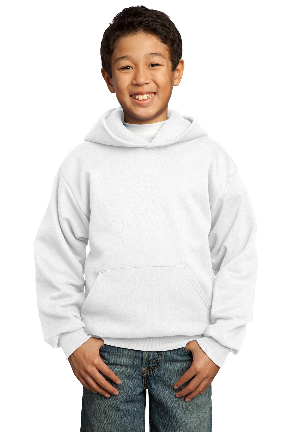 Port & Company ®  - Youth Core Fleece Pullover Hooded Sweatshirt.  PC90YH - White