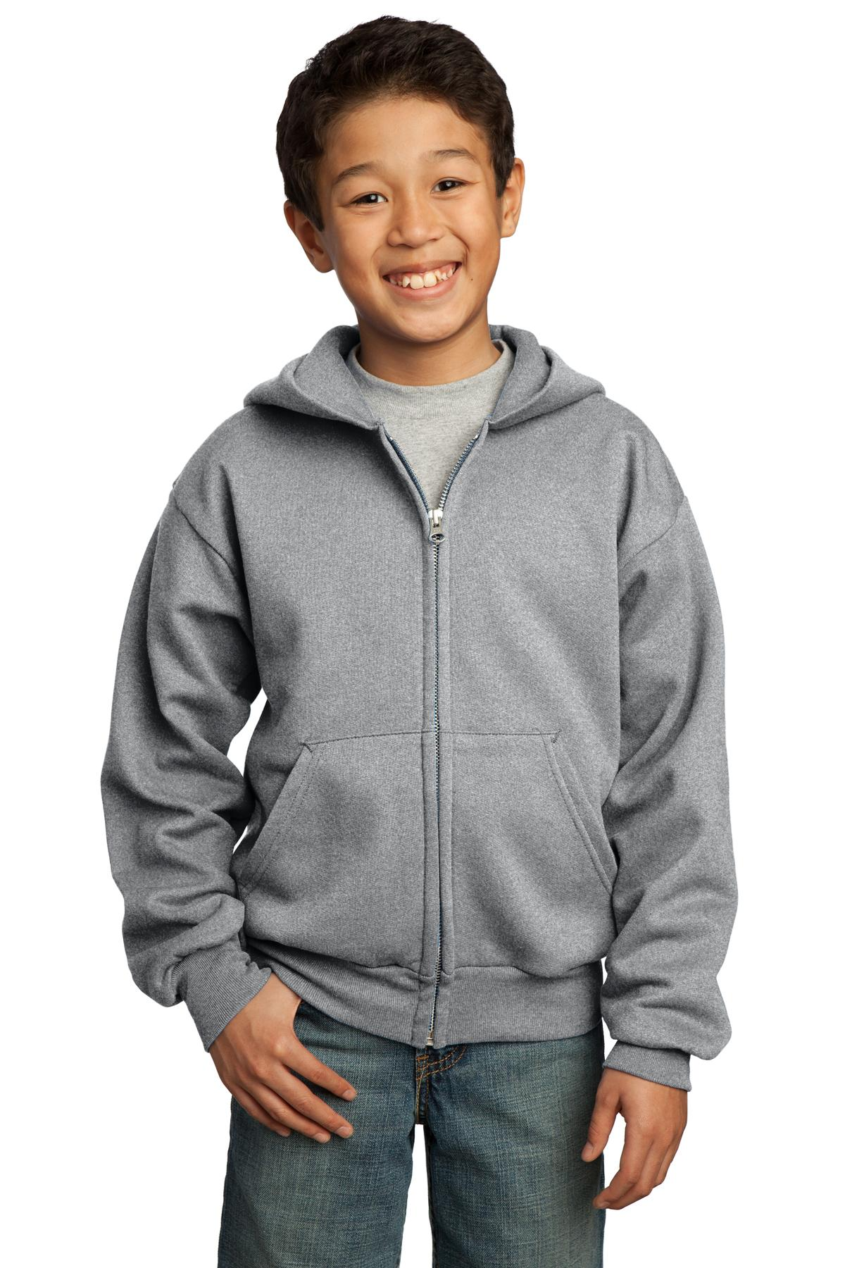 Port & Company ®  - Youth Core Fleece Full-Zip Hooded Sweatshirt.  PC90YZH - Athletic Heather