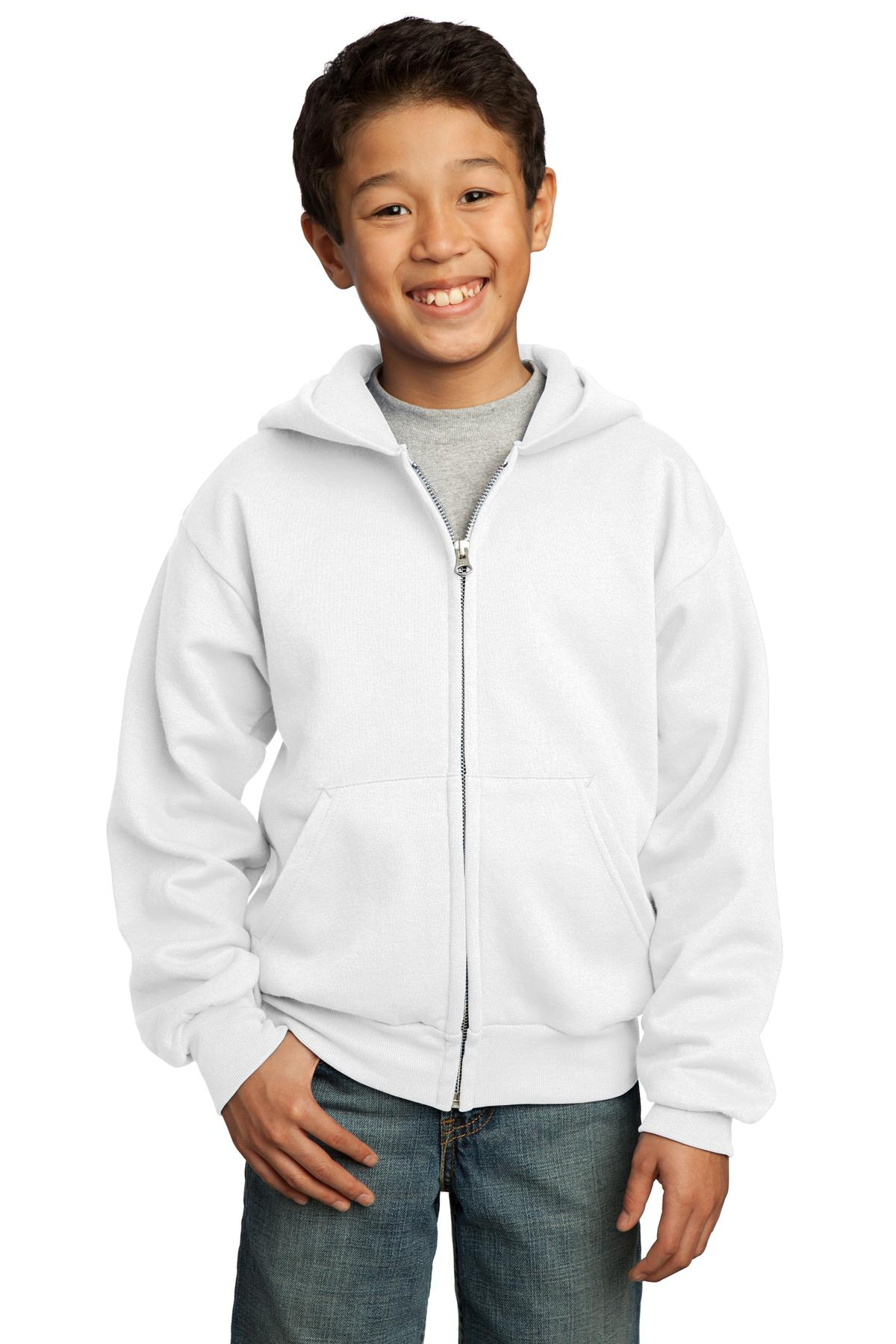 Port & Company ®  - Youth Core Fleece Full-Zip Hooded Sweatshirt.  PC90YZH - White