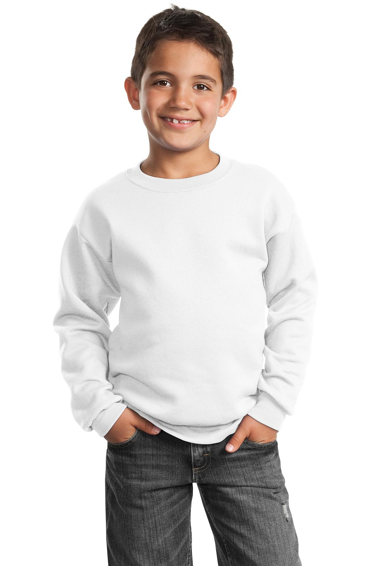 Port & Company ®  - Youth Core Fleece Crewneck Sweatshirt.  PC90Y - White