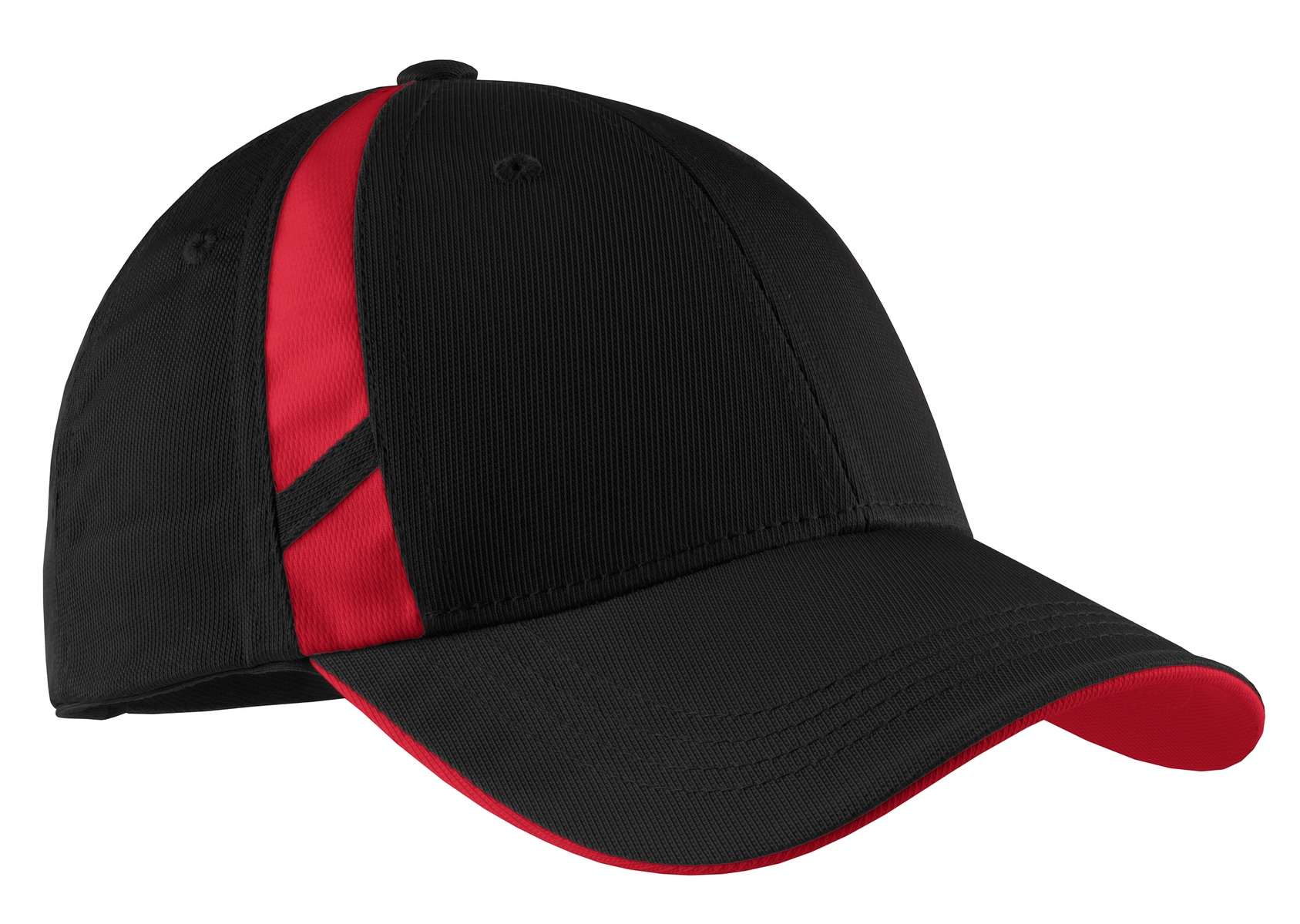 Sport-Tek ®  Dry Zone ®  Mesh Inset Cap. STC12 - Black/ True Red