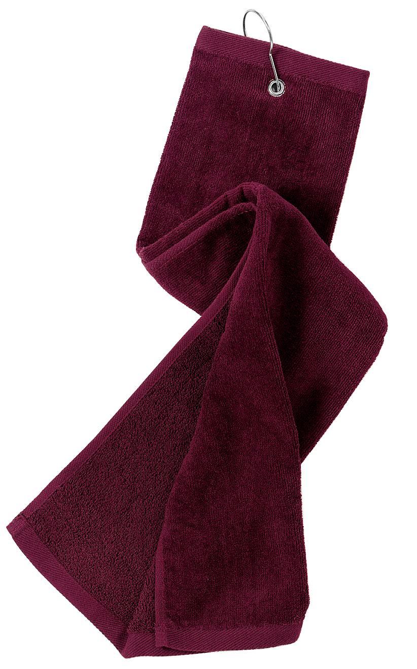 Port Authority ®  Grommeted Tri-Fold Golf Towel.  TW50 - Maroon