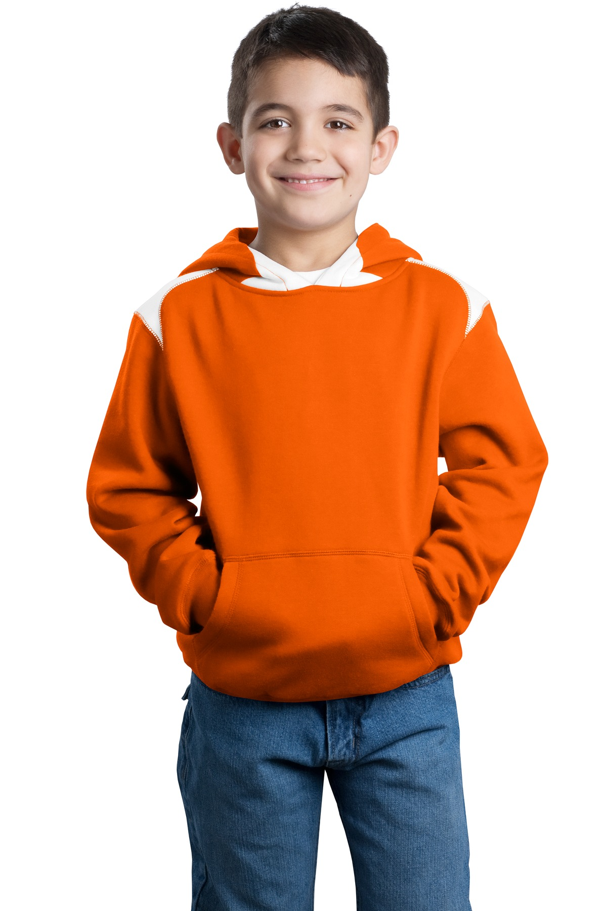 CLOSEOUT Sport-Tek Youth Pullover Hooded Sweatshirt with Contrast Color. Y264